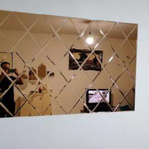 آینه دکوراتیو پازل آبشاری و سندبلاست شیشه و آینه