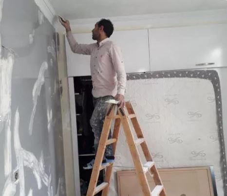 نقاش نقاشی ساختمان بتونه کناف و کاغذ دیواری