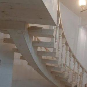 پله گرد پله راسته تمام چوب نرده چوبی نجاری