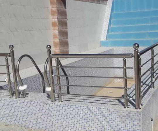 نرده حفاظ استیل و پله استخری