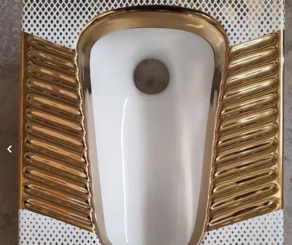 سنگ توالت زمینی و فرنگی طلایی و مشکی طلایی